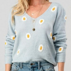 V Neck Floral Print Knit Sweater